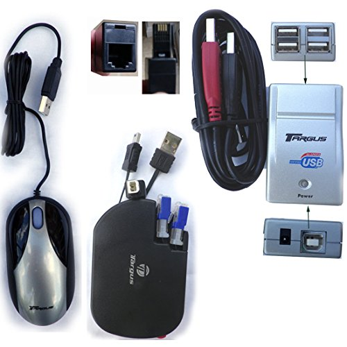 Targus Laptop/Notebook/Netbook Accessory Pack Bundle With Optical Mouse Usb Hub Uk Telephone Plug To Rj11 Socket Adaptor & 3In1 Cable Connector Unit