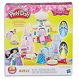 Play Doh - Disney Princess - Sparkle Kingdom Playset - 2 Dolls, Accessories & 4 Cans of Compound - Ages 3+