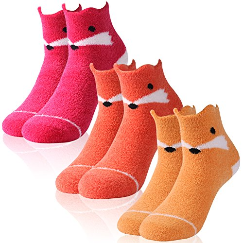 Fuzzy Socks for Women,Youth Crazy Cute Antiskid Fancy Cartoon Animal Patterned Casual Fun Crew Gift Socks Vive Bears 3 Pairs - Fur Yarn Fancy