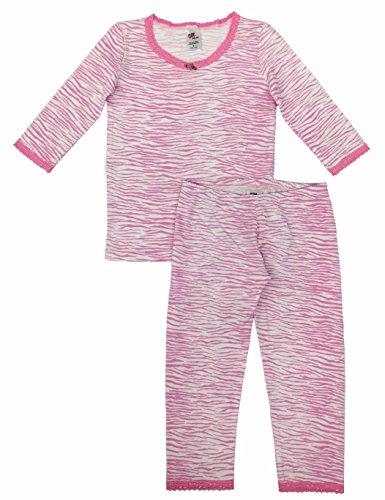 Esme Girl's Sleepwear 3/4 Long Sleeve Top Leggings Set 4 Pink Zebra