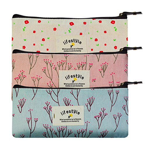 Miayon Countryside Flower Floral Pencil Pen Case Cosmetic Makeup Bag Set of 3 by - Tampons Case Pack