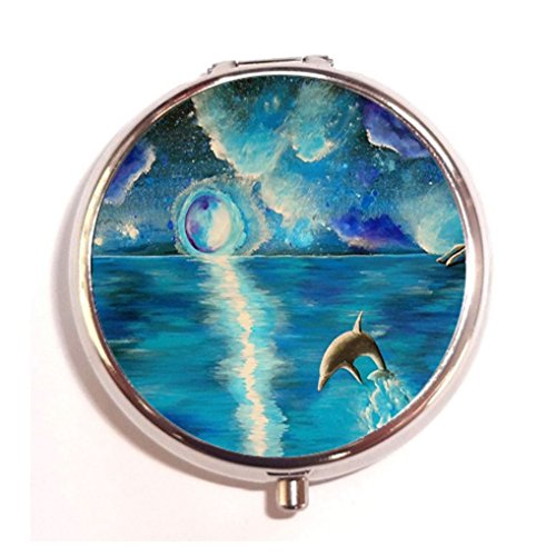 (Water Dance Turquoise Dolphin Ocean Water Aqua Night Sky Stars Moon Starry Blue Custom Fashion Pill Box Medicine Tablet Holder Organizer Case for Pocket or Purse)