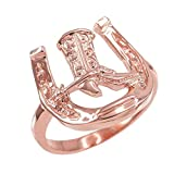 Men's 10k Rose Gold Lucky Horseshoe with Cowboy Boot Ring (Size 16)