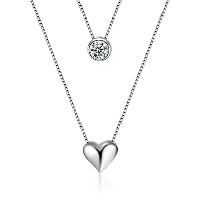 Shawa Jewelry 925 Sterling Silver Double Layer Necklace, 5A Cubic Zirconia Heart Pendant