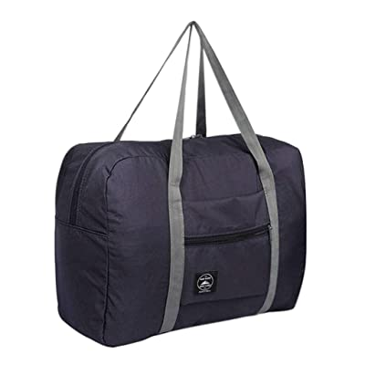Foldable Duffel Bag for Women Men Outdoor Travel Lightweight Waterproof Carry-on Luggage (Dark Blue) : Clothing