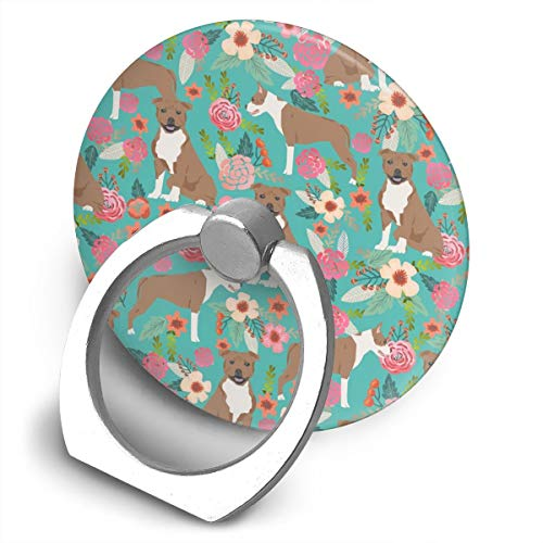 (Staffordshire Terrier Florals Dog Cute Dog Sweet Pet Pets Round 360 Degree Rotating Ring Stand Grip Mounts Phone Holder for Any Smartphones iPhone Or Tablets)
