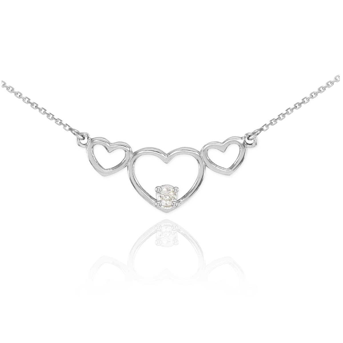 14k White Gold Solitaire CZ Triple Open Heart Necklace by Unknown (Image #1)