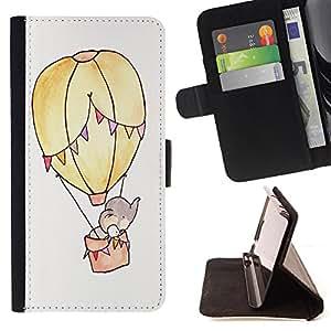 Dragon Case- Caja de la carpeta del caso en folio de cuero del tir¨®n de la cubierta protectora Shell FOR Samsung Galaxy S6 Edge G9250 G925F- Elephant Cute Cartoon