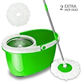 Valuebox 360° Spin Bucket System Mop with Extended Length Handle Stainless Steel Basket 2 Microfiber Mop Heads ,Purple Blue Green (Green)