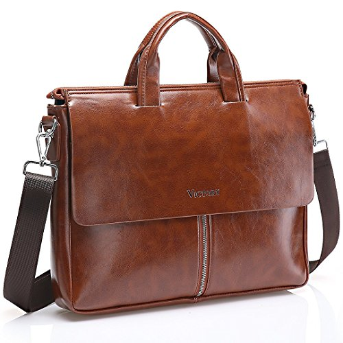 JOYSON Men Leather Briefcase Tote Shoulder Handbag Vintage PU Leather Laptop FIT 16'' Brown
