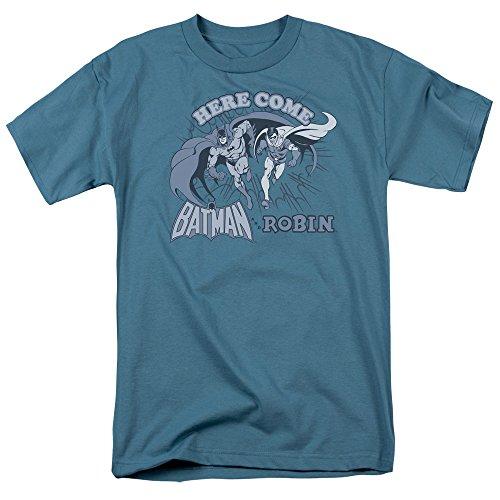 DC Comics Men's Dc Here Come Batman and Robin Adult T-Shirt at Gotham City Store