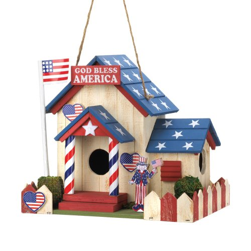 4th JULY AMERICAN FLAG PATRIOTIC WOOD BIRDHOUSE BIRD HOUSE DECORATION GARDEN ART DECOR