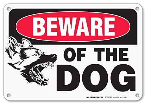 (My Sign Center Beware of Dog Sign, Outdoor Rust-Free Metal, 7