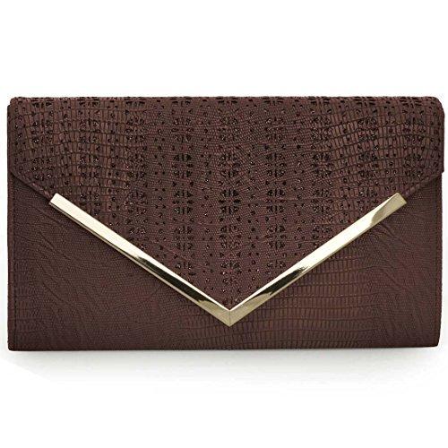 BMC Womens Chocolate Brown PU Leather Alligator Skin Pattern Perforated Glitter Metal Accent Envelope Flap Clutch Handbag