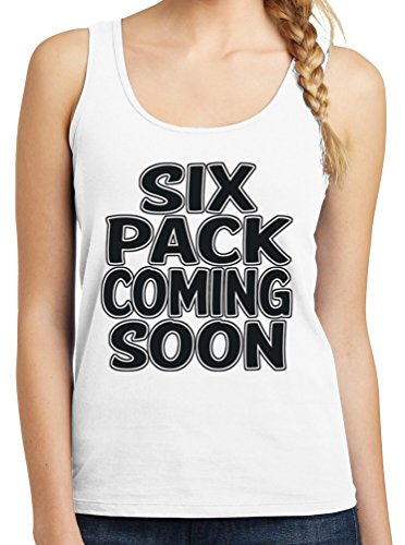 Womens Six Pack Coming Soon Graphic Tank Top, 4X, White