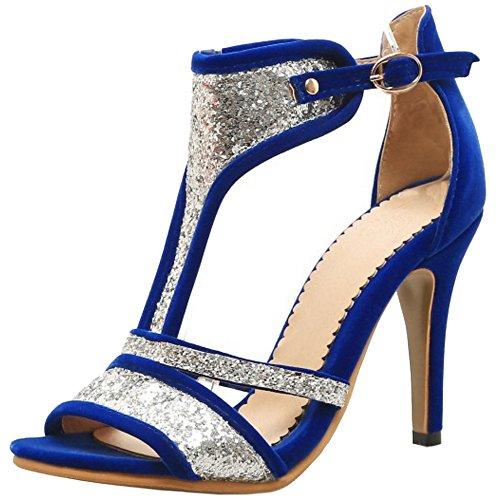 TAOFFEN Mujer Peep Toe Botin Sandalias Tacon De Aguja Tacon Alto Verano Zapatos Azul
