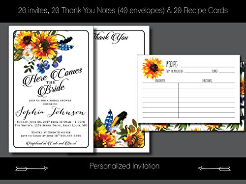 Custom Bridal Shower Invite Package - Here Comes The Bride, Sunflower, Boho, Thank You Notes, Recipe Cards - Personalized Invitation