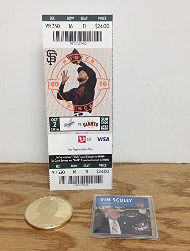 (Vin Scully Legendary Announcer Commemorative Coin AND Season Ticket Holder HARD TICKET LAST GAME ANNOUNCED LA Dodgers vs. SF Giants)