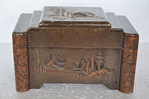 Old Wooden Handcrafted Unique Engraved Solid Jewellery Box , ()