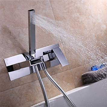 Delicieux JiaYouJia Waterfall Wall Mount Tub Filler Faucet U0026 Handshower Chrome
