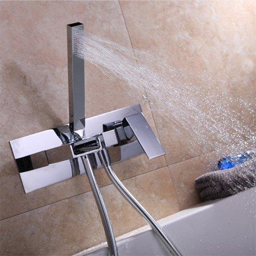 JiaYouJia Waterfall Wall-Mount Tub Filler Faucet & Handshower Chrome
