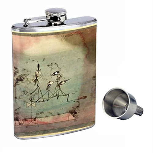 Paul Klee Twittering Machine Fine Art Perfection In Style 8oz Stainless Steel Whiskey Flask with Free Funnel D-502