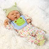 Paradise Galleries Realistic Reborn Baby Baby Doll, Sleepy Frog, 20 inch Weighted Baby in GentleTouch Vinyl, 4-Piece Set