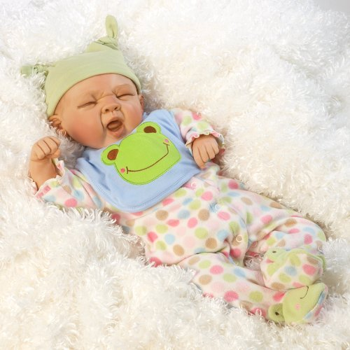 Paradise Galleries Real Life Great to Reborn Baby Doll, Sleepy Frog, Sleeping Boy Doll Crafted in Soft Vinyl and Weighted Body, 20 inch