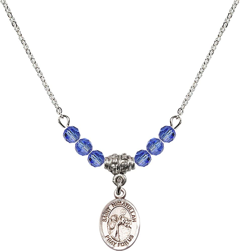 18-Inch Rhodium Plated Necklace with 4mm Sapphire Birthstone Beads and Sterling Silver Saint Nimatullah Charm.
