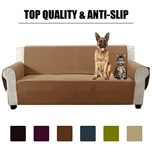 Aidear Anti-Slip Sofa Slipcovers Jacquard Fabric Pet Dog Couch Covers Protectors (Sofa, Light Coffee)