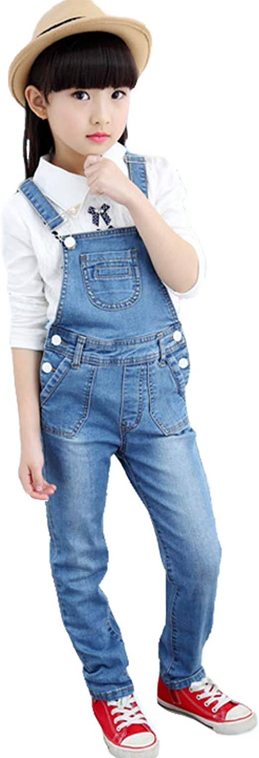OnlyAngel Boys Suspender Jeans Adjustable Straps Cotton Denim Overalls Age 4-13