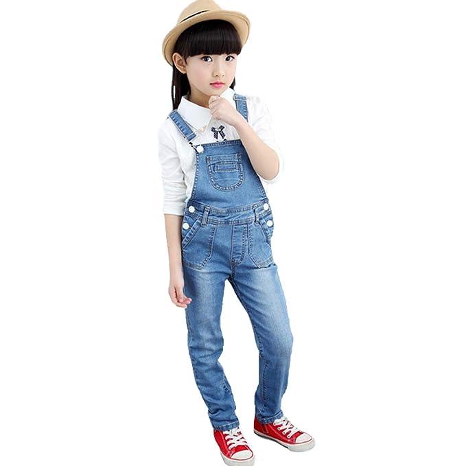 FLOWERKIDS Boys Washed Denim Bib Overalls Adjustable Straps Suspender Jeans 4-13 Years