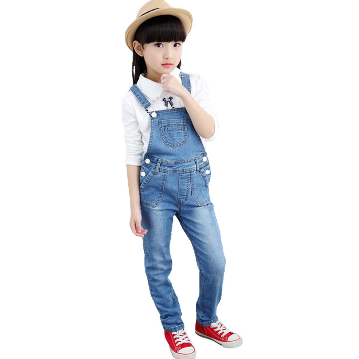 OnlyAngel Girls Suspender Jeans Adjustable Strap Cotton Denim Overalls Age 4-13 (5-6 Years, Light Blue)