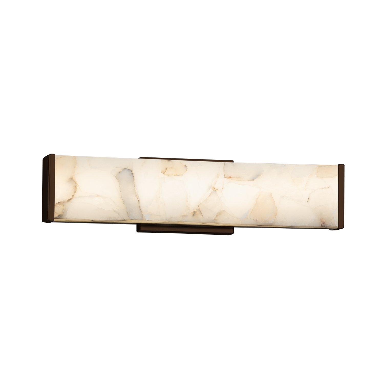 Alabaster Rocks! Latitude 29 LED Linear Wall//Bath Light with Alabaster Rocks Shade Matte Black Finish