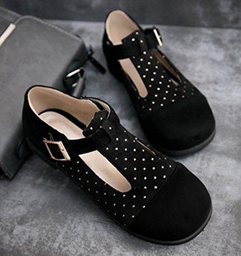Sfnld Mujeres Casual Punta Redonda De Corte Bajo Rivet T-strap Mocasines Planos Zapatos Con Hebilla Negro