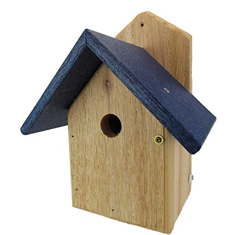 JCs Wildlife Nature Products USA Chickadee Birdhouse, Blue Recycled Poly Lumber Roof, WREN-4B