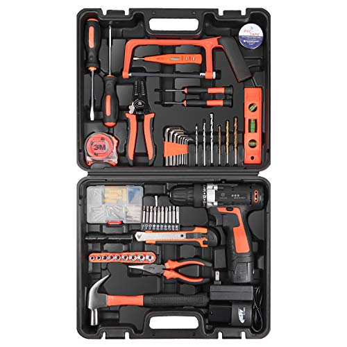 """LETTON 16.8V Tool Kit with Drill, 247 In-lb Torque, 0-1300RMP Variable Speed, 10MM 3/8"""" Keyless Chuck, 18+1 Clutch, 1…"""