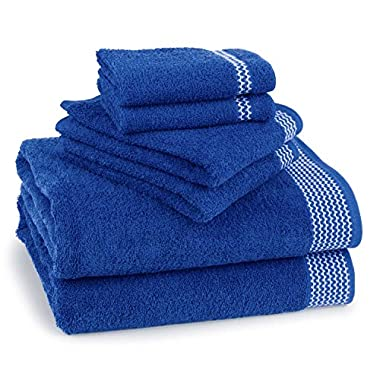 Bath Towel Set 6 Piece 100% Ringspun US Cotton, Chevron Zig-Zag Royal Blue