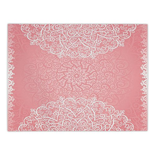 iPrint Rectangular Satin Tablecloth,Light Pink,Doily Inspired Cute Lace Style Round Motifs with Ornate Intricate Hearts Decorative,Coral White,Dining Room Kitchen Table Cloth Cover ()