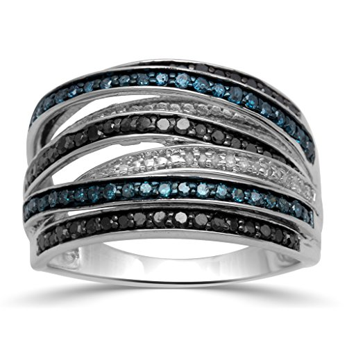Jewelili Sterling Silver Black, Blue and White Diamond Stackable Ring, 3/4cttw , Size 7 - White Diamond Stackable Ring