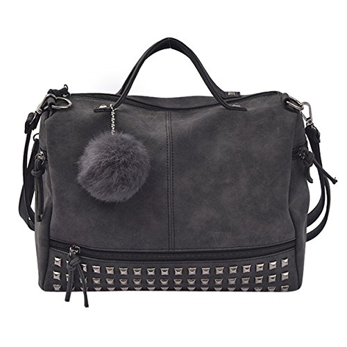 FUNOC Women's Nubuck Top Handle Bag - Satchel Punk Motorcycle Rivet Shoulder Bag (Black) by FUNOC