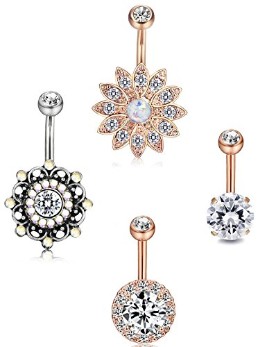 Udalyn 4Pcs 14G Stainless Steel Belly Button Rings Body Piercing Navel Piercing Jewelry for Women Girls - Gothic Belly Ring