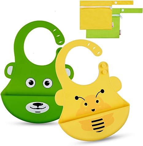 Baby Catcher Wipeable Waterproof Pocket Bibs Toddler Silicone Feeding Bibs T
