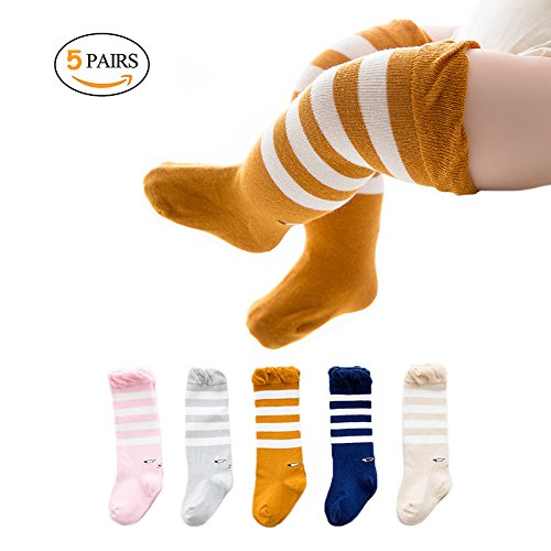 Joylish 5 Pairs Baby Knee High Socks for Girls Boys - Unisex Newborn Stockings Cotton