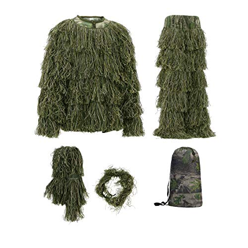 (Auscamotek Ghillie Suit for Men Ghilly Suits for Hunting Airsoft Halloween with Jacket Pants Hood Gun Wrap Camouflage Included XL XXL)