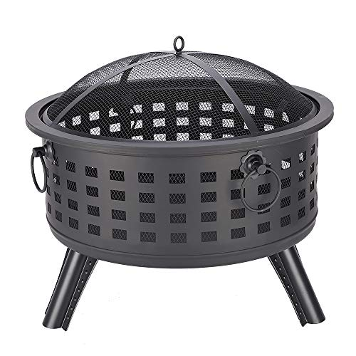 Zipperl 26″ Fire Pit Heavy Duty Fire Bowl with Spark Screen and Poker Great for Outdoor Heating, Bonfire, Grill, Picnic, Camping