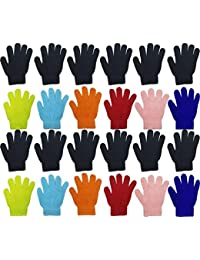Kids Winter Magic Gloves, 24 Pairs Warm, Cute, Colorful, Stretchy Wholesale for Boys Girls, Toddlers Ages 2-6 (Assorted A)