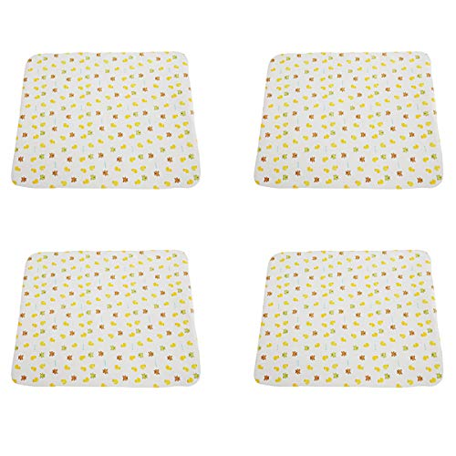 B-caton Cute Portable Changing Pad Waterproof Diaper Change Mats for Babies & Toddler,Bear and Yellow Duck (31.5x27in, 4 pcs)