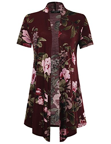 All for You Women's Soft Drape Floral Cardigan Short Sleeve Burgundy 61140 X-Large