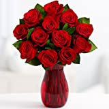 ProFlowers - One Dozen Red Roses with Chocolates (with FREE glass vase) - Flowers